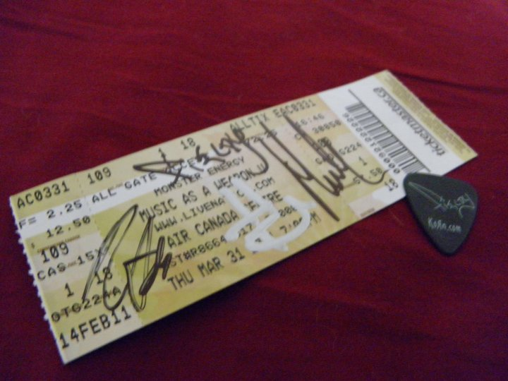 Ticket and Guitar pick