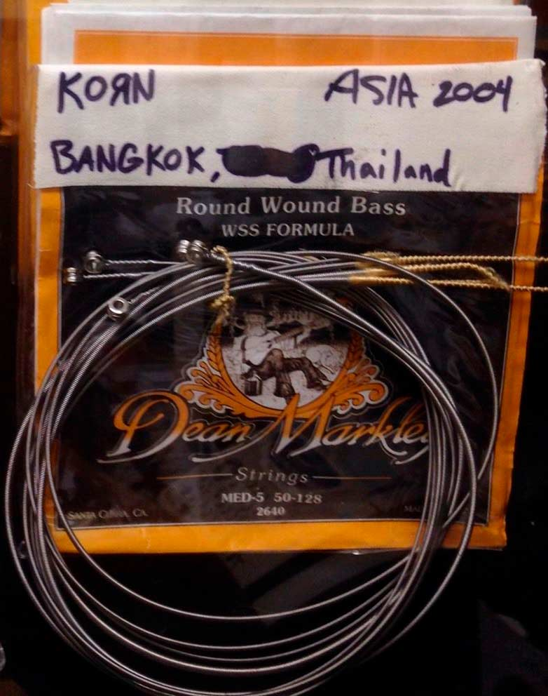 Fieldy's stage used bass strings